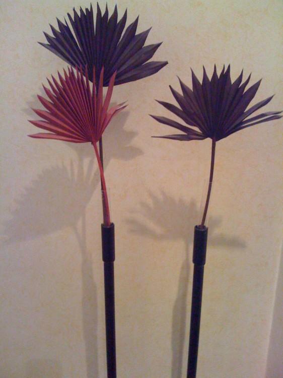 Three Paper Flowers in Vase in Hotel Room