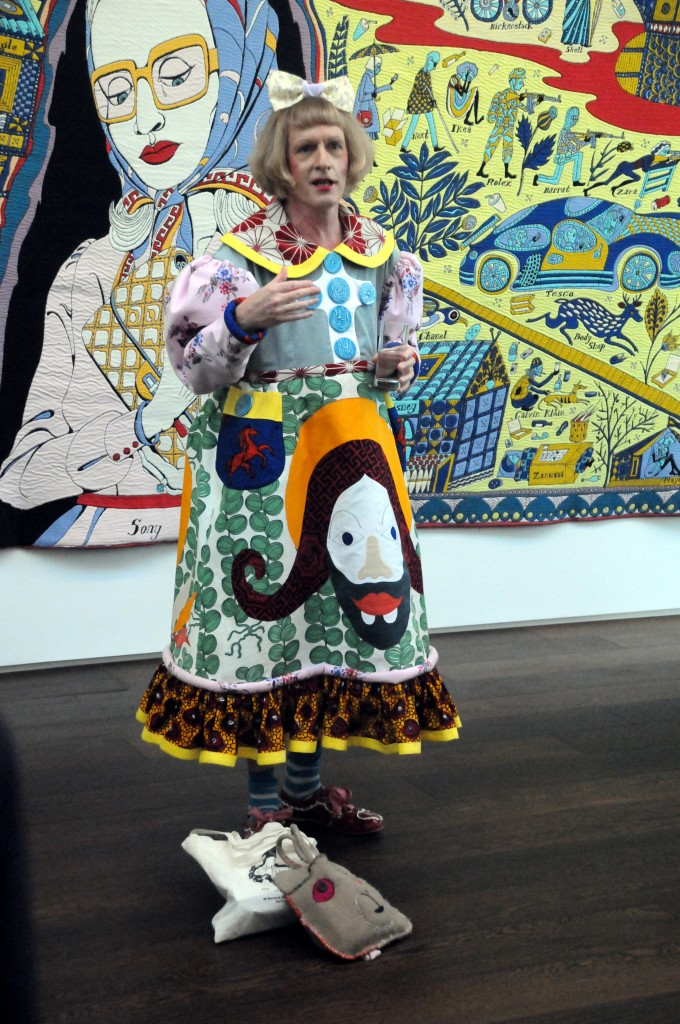 Grayson Perry before his Walthamstow Tapestry: photo by Multi