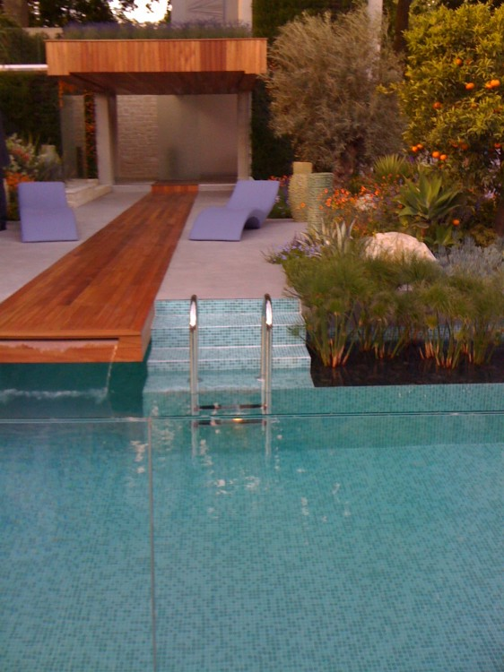 Clever Idea: Integration of Pool with Garden: Dodgy Execution. Why Does it Have to Be Blue?