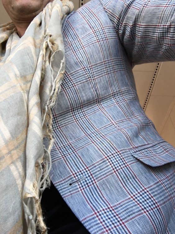 My Second Set of Tartan Worn for the Isle of Bute Visit: Zara, Bought Specially. 100% Linen. Tres Good buy