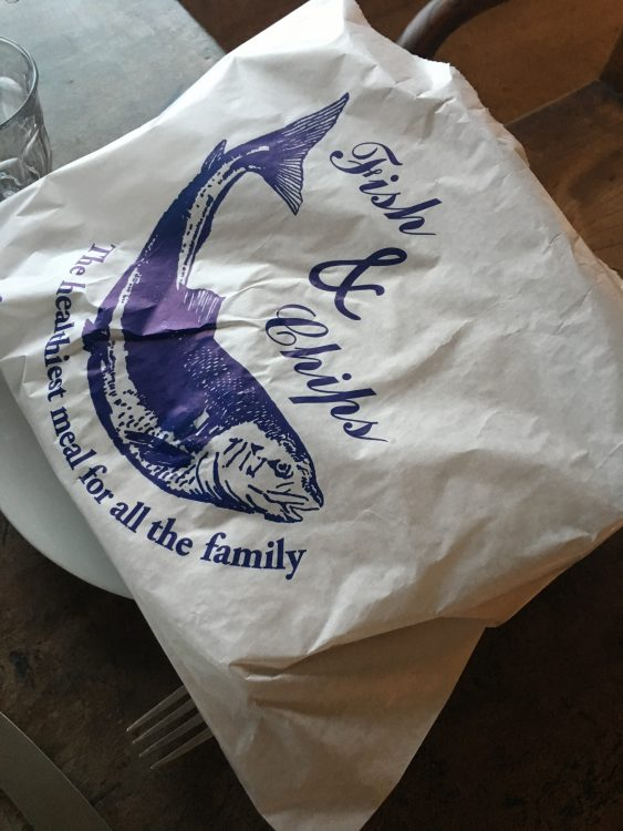 Fish and Chips is Wrapped for Transport: Val had His Carried by Me