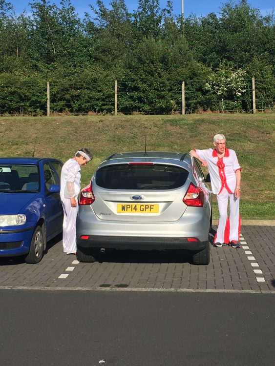Abba Fans in Car Park of Premier Inn Ayr Racecourse