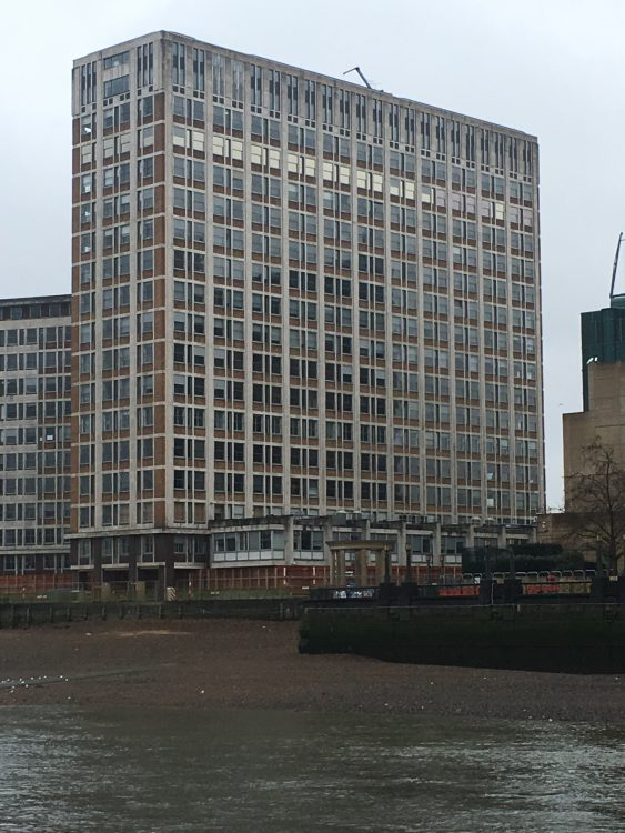 I think This is the Arno Goldfinger Building at Vauxhall, by Chance Quite Near the M16 Building where James Bond Operated. Ian Fleming got the name 'Goldfinger' from Arno Goldfinger