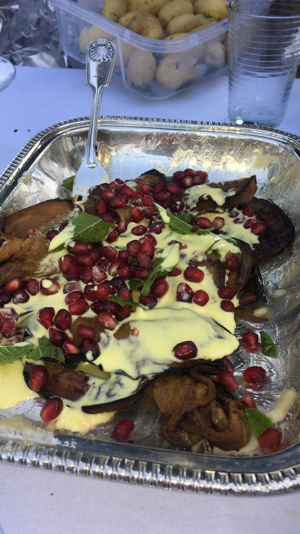 Glyndebourniana: Ottolenghi Aubergine, Pomegranate and Saffron Yoghurt Salad by Rufus Pitman