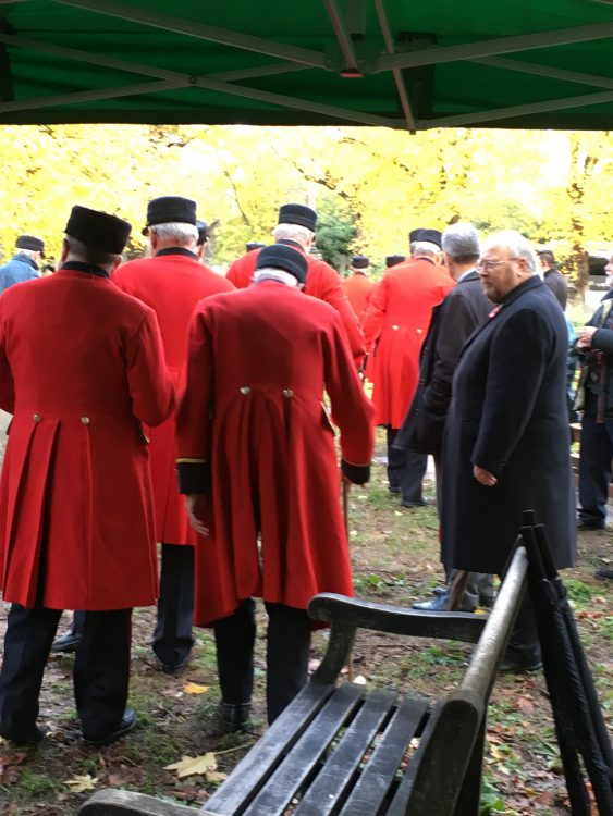 Chelsea Pensioners at mass grave of their unknown forebears: Brompton Cemetery: Unveiling of Restored Monument to Chelsea Pensioners