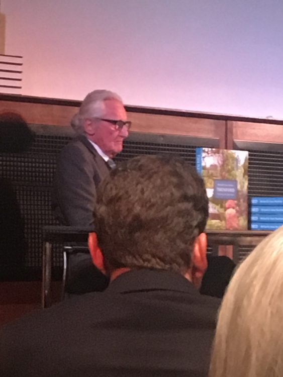 Lord Heseltine Giving the NGS Annual Lecture: Note Piles of Books about his Own Garden