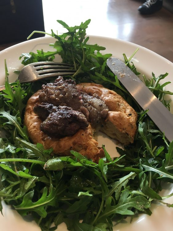 Val's Welcome Luncheon: Gougere aux Champignons with Chicken Livers on a bed of Rocket