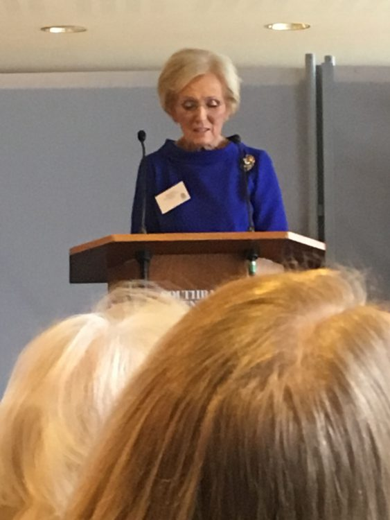 Mary Berry addressing the NGS launch, Royal Festival Hall. Now Royal