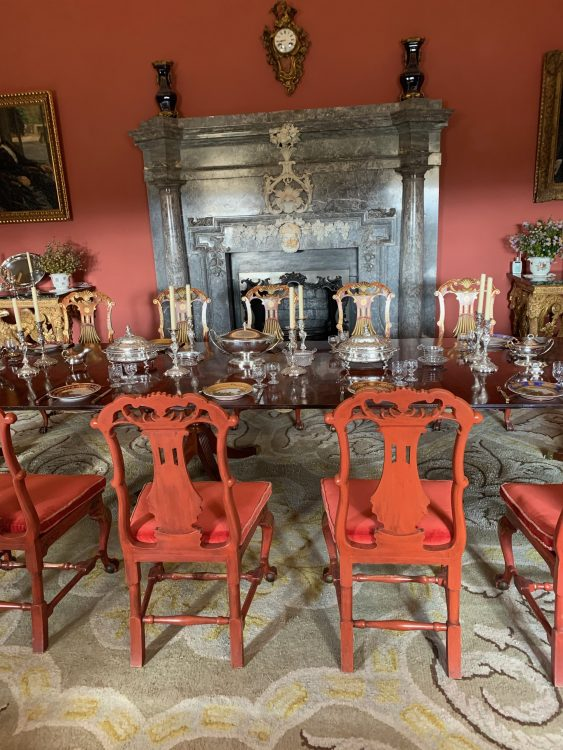 Russborough: the Dining Room. Weird Fireplaces throughout the House