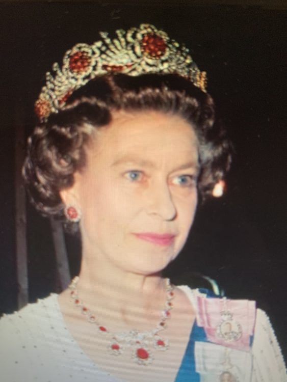 The Burmese Ruby: Described by Rufus Pitman as an 'Edward Heath Tiara' because Constructed in the 70s. Looks a Fire Guard. Fussy and Unimportant Stones
