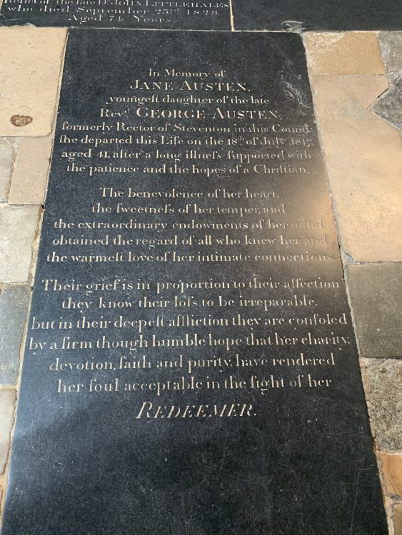 Jane Austen's Grave: a Pack of Lies. Trying to Make out she was a Nice Person. No Mention of her Novels
