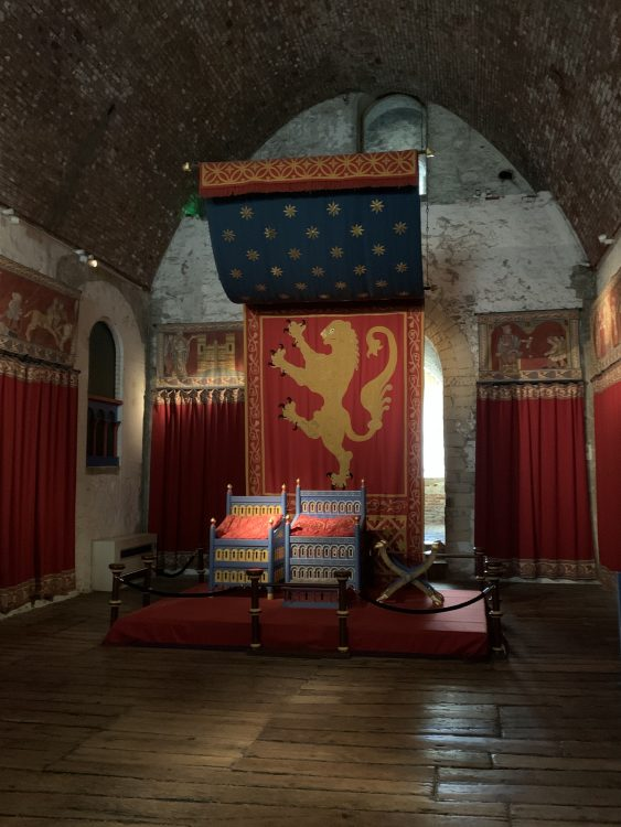 Dover Castle: Henry 11's Throne Re-Created by English Heritage. Good to get Across that the Medieval World was Full of Colour, Not bare Nooky-Wooky as It Comes Down to Us